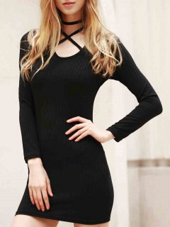 Long Sleeve Black Bodycon Dress - Black L