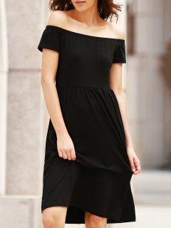 Solid Color Off The Shoulder Short Sleeve Dress - Black 2xl