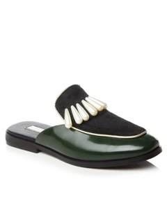 Splicing Beading Lace-Up Flat Shoes - Green 37