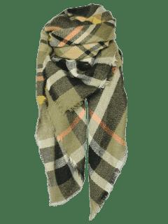 Tartan Pattern Shawl Scarf - Blackish Green