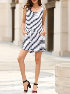 Belted Striped Scoop Neck Sleeveless Playsuit - White S