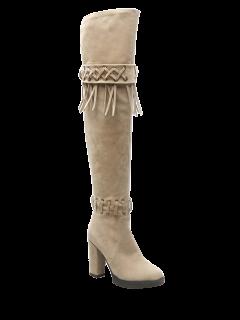 Fringe Criss-Cross Chunky Heel Thigh Boots - Beige 38