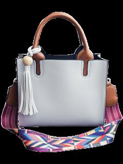 Tassels Color Block Bead Tote Bag - Light Gray