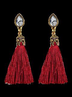 Rhinestone Tassel Water Drop Earrings - Red