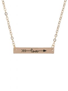Arrow Rectangle Bar Necklace - Rose Gold