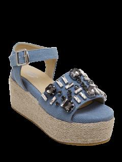 Rhinestone Platform Denim Sandals - Light Blue 38