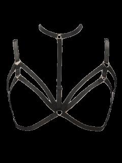 Bra Bondage Harness Layered Body Jewelry - Black