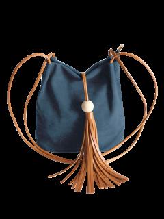شرابة الخشب حبة حقيبة الكتف - أزرق