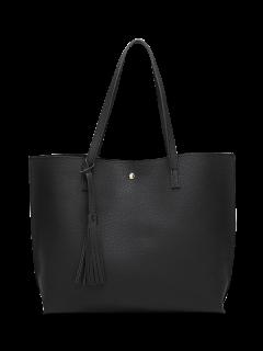 Textured PU Leather Tassel Shoulder Bag - Black