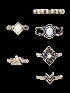 6 PCS Tribal Geometry Retro Rings - Silver