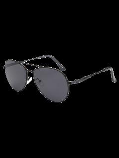 Metal Crossbar Pilot Sunglasses - Black