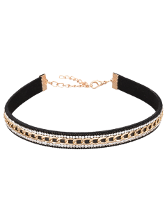 Faux Leather Rhinestone Chain Choker Necklace - Black