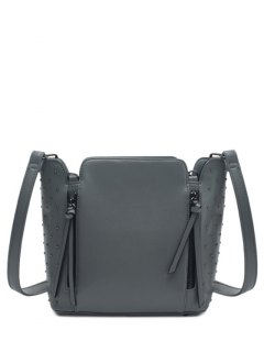 Rivets Zips Solid Color Shoulder Bag - Gray