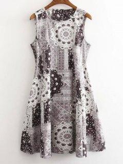 Floral Print Round Neck Sleeveless Dress - Gray S