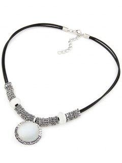Faux Gem Alloy Double-Deck Necklace - Black