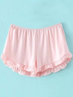 Solid Color Trimming Elastic Waist Shorts - Pink