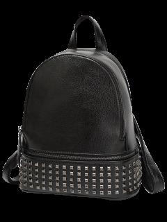 Rivets Zips Solid Color Satchel - Black