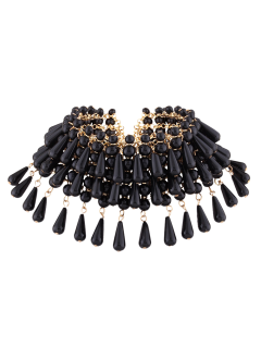Teardrop Faux Pearl Layered Necklace - Black
