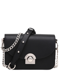 Chain Metal Ring Solid Color Crossbody Bag - Black