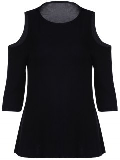 Cold Shoulder Round Collar 3/4 Sleeve Solid Color T-Shirt - Black L