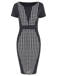 Houndstooth Pencil Dress With Sleeves - Black S