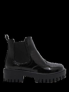 Engraving Elastic Band Platform Ankle Boots - Black 38