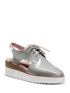 Slingback Square Toe Lace-Up Platform Shoes - Gray 34