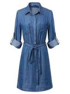 Pockets Shirt Collar Long Sleeve Chambray Dress - Blue S