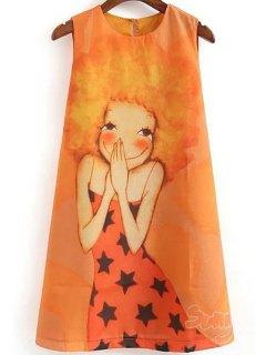 Cartoon Print Round Collar Sleeveless Dress - Orange M