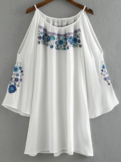 Embroidery Round Collar Cold Shoulder Dress - White L