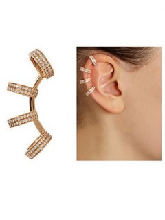 Rhinestones Circle Clip Earrings - Golden