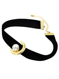 Faux Pearl Moon Choker - Black
