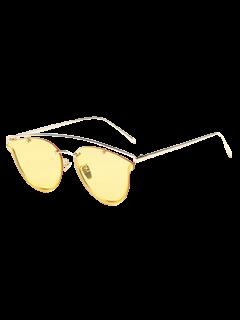 Transparent Lens Crossbar Butterfly Sunglasses - Yellow