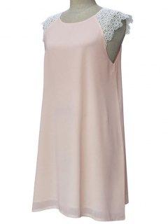 Robe Embellie Patchwork De Dentelle à Col Rond Sans Manches - Rose Clair Xl