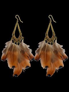 Water Drop Feather Tassel Earrings - Antique Brown
