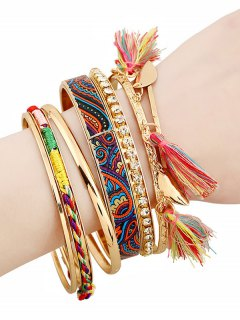 Rhinestone Tassel Ethnic Bracelets - Golden