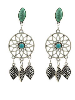 Faux Turquoise Leaves Bohemian Earrings - Silver
