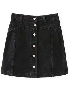A Line Button Up Denim Skirt - Black M