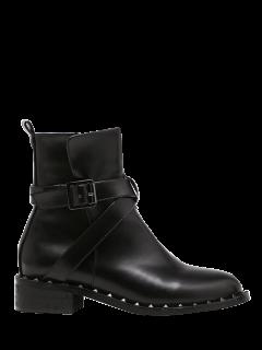 Punk Buckle Cross Strap Rivet Boots - Black 38