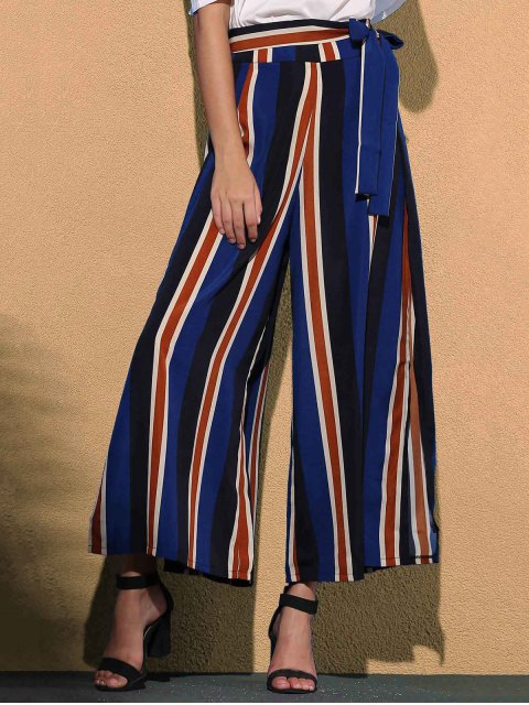 affordable Striped Color Block High Waist Wide Leg Pant - BLUE S Mobile