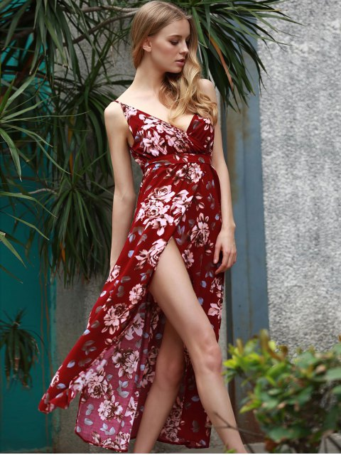 outfit Floral Spaghetti Straps Slit Maxi Dress - WINE RED XL Mobile