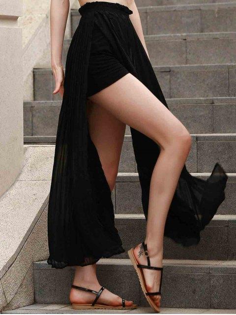 women's Pleated Chiffon Long Skirt - BLACK XS Mobile