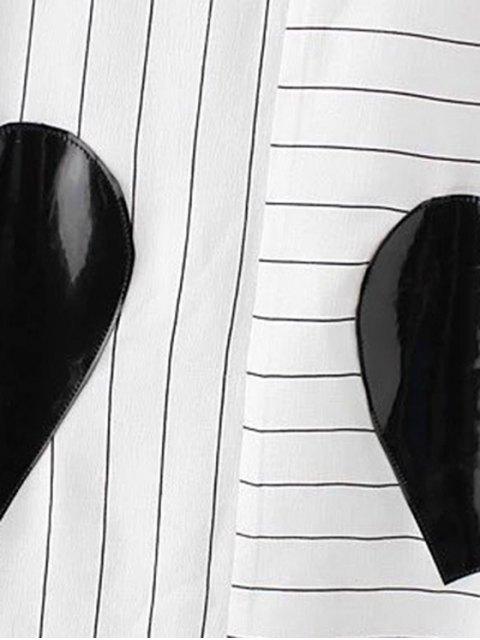 hot Striped Pockets Patch Irregular Hem Dress - WHITE S Mobile