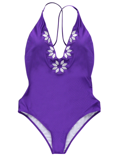 hot Embroidered Cami One Piece Swimwear - PURPLE S Mobile
