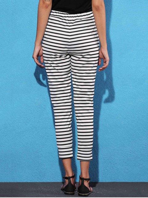 shops Belted Striped High Waist Harem Pant - WHITE S Mobile
