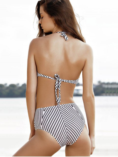 outfit High-Neck One-Piece Striped Swimwear - WHITE L Mobile