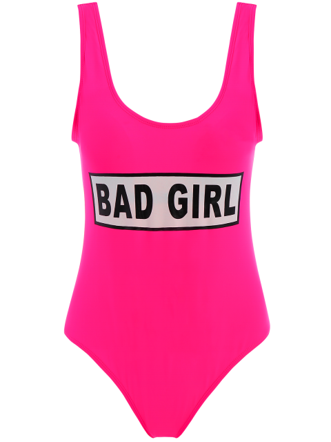 lady Straps Bad Girl Print Swimwear - ROSE RED S Mobile