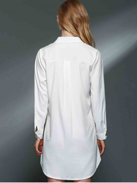chic Bowknot Embellished Tunic Shirt Dress - WHITE M Mobile