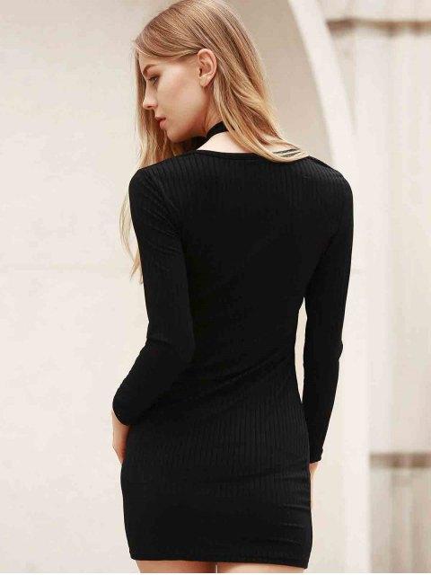 shop Long Sleeve Black Bodycon Dress - BLACK 2XL Mobile