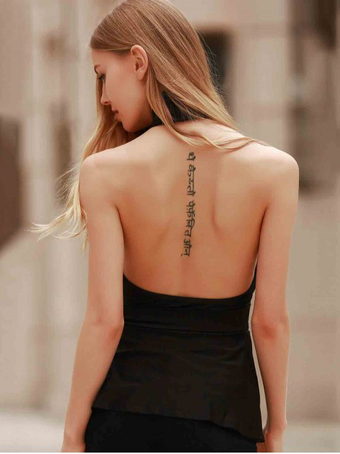 women Halter Open Back Peplum Top - BLACK L Mobile